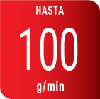 Potente golpe de vapor de hasta 100g/m