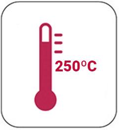 Soporta hasta 250 grados centígrados