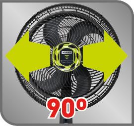 ventilador con oscilación horizontal de 90 grados