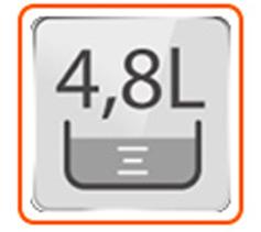 Capacidad de 4.8 Litros o 10 Tazas