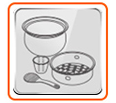 Incluye tazón esférico antiadherente, vaso dosificador y cuchara vaporera